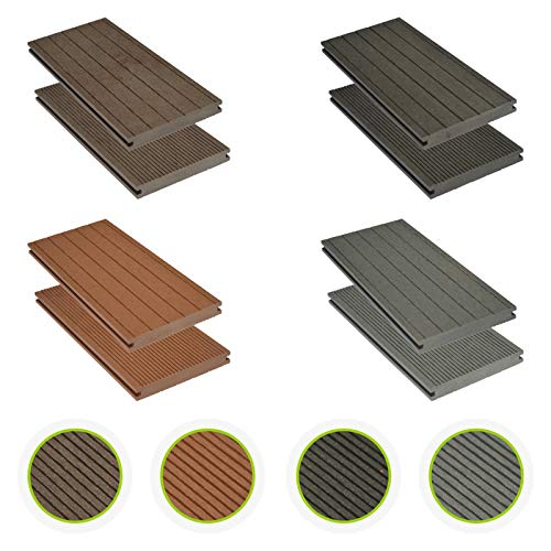 HORI® WPC-Terrassendielen massiv grau I Komplett-Set inkl. 40x60 mm Unterkonstruktion & Clips I Dielenlänge 2,90 m I Fläche 5 m²