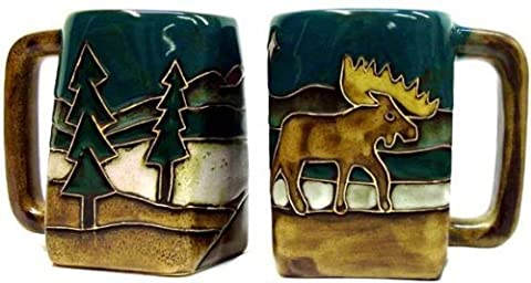 One (1) MARA STONEWARE COLLECTION - 12 Ounce Coffee Cup Collectible Square Bottom Dinner Mug - Moose Design by Creative