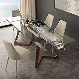 M-029 Tisch, ausziehbar, aus Glas und Holz, Tosca-Design