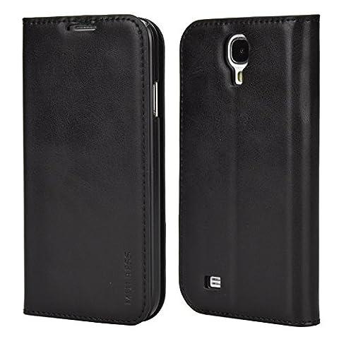 Coque Samsung Galaxy S4,Mulbess Étui Housse en Cuir pour Samsung Galaxy S4, Format Livre Horizontale Emplacements pour Cartes, Auto-support Support Bureau - Noir
