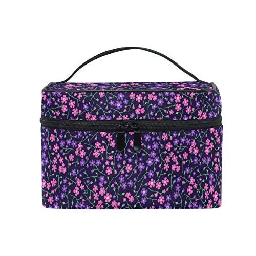 Rolling Valet (Pinl Purple Flowers Makeup Bag Portable Travel Cosmetic Bag Organizer Toiletry Bag for Women)