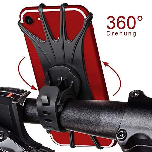 StillCool Fahrrad Handyhalterung Handy Halter mit 360° Drehbare Verstellbar 4-6,5 Zoll Geräte für Smartphone Universal iPhone X/8/7/6s/6/5S/5/4s Plus 8/7/6 Galaxy S8 Huawei (schwarz) (Iphone 4s Fall Pokemon)