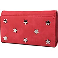 styleBREAKER soft purse with star studded applications, press stud closure, purse, ladies 02040087, color:Red