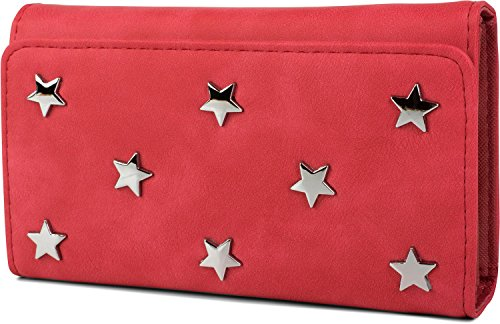 styleBREAKER weiche Geldbörse mit Stern Nieten Applikationen, Druckknopf Verschluss, Portemonnaie, Damen 02040087, Farbe:Rot