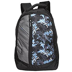 Zwart 25 Ltrs Grey And Blue School Backpack (114114BB)