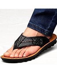 Beauqueen Man's Beach Flip & Flop Thongs Ceinture en cuir Sains Soft antidérapants Outsoles Outdoor Pantoufles Chaussures à double usage Taille de l'UE 38-43