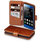 Terrapin, Kompatibel mit Huawei Honor 9 Hülle, [ECHT LEDER] Brieftasche Case Tasche mit Standfunktion Kartenfächer und Bargeld - Cognac
