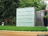 Garten[Q] Teras Gartenschrank, Gartengeräteschrank, Gartenbox, HPL-Trespa, wetterfest mit Zugriff von 2 Seiten links geschlossen, breites Streifendesign - 5