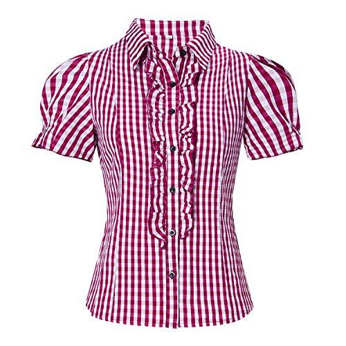 Xxl Alisister Camisa Cuadros Con Abullonadas Blusa Blanco Oktoberfest Costume Rojo Mujer Dirndl A Moda Mangas mw8v0NnO