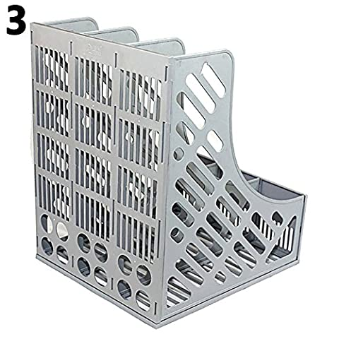 Gemini_mall 3 Sections Magazine File Holder Rack Home Office Document Storage Desk Organizer Tidy, Grey