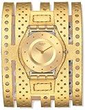 Swatch sfk384–Orologio, cinturino in pelle colore oro