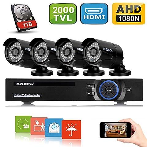 FLOUREON A628B-W1 Kit CCTV Vidéosurveillance 8CH ONVIF Enregistreur DVR AHD 1080N + 4 Caméras HD 960p 2000TVL 1.3MP Etanches pour l'Extérieur(Vision Nocturne, Détection de Mouvement, Alerte par Mail, Système Cloud, Sauvegarde par USB, 1 To Disque Dur Inclus)