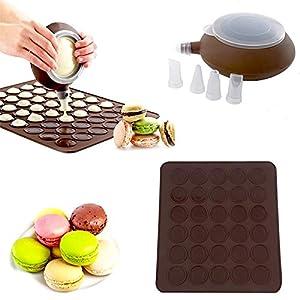 SOEKAVIA 48-Kapazität Silikon Macaron Matte Macarons Backmatte Macarons Backset Macaron Backen Form Set mit Düsen DIY backen Werkzeug Satz (Kaffee)
