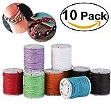 10pcs Cordón de algodón encerado encerado cadenas Abalorio joyería 10M 1mm para DIY pulsera Color...