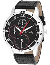 Howdy Smart Analog Black Dial Watch With Leather Strap - For Men's & Boys Ss508