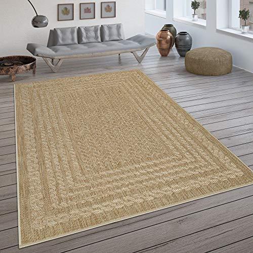 Paco Home In- & Outdoor-Teppich, Flachgewebe Mit Skandi-Design Und Sisal-Optik In Beige, Grösse:80x150 cm