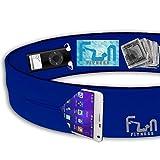 CINTURA DA CORSA (Blu, Medio) – Marsupio Premium Fitness - Migliore Compatibilità per Telefoni Grandi incluso iPhone 6 / 7 plus e Samsung Note 4 - Perfetta per Esercizio, Allenamento, Palestra, Yoga & Attività all'Aperto