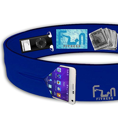 Running Belt (Blue, L) - Premium Fitness Waist Pack - Best Fit for Large Phones including iPhone 7 plus and Samsung Note 4 - Perfect for Workout Exercise, Gym, Yoga, Dancing and Outdoor Activities, Cycling, Camping, Travelling