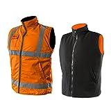 2 in 1 Profi Warnweste orange Fleeceweste Sicherheitsweste Arbeitsweste Funktionsweste