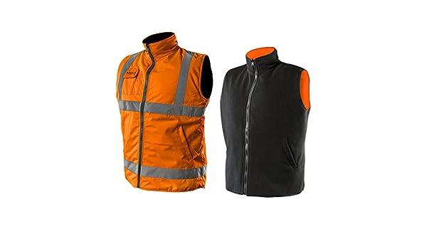 2 in 1 Profi Warnweste orange Fleeceweste Sicherheitsweste Arbeitsweste Funktionsweste XXXL