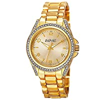 August Steiner Women's Crystal Bezel and Lugs Dress Watch - Sunburst Dial on Yellow Gold Tone Stainless Steel Bracelet - AS8149