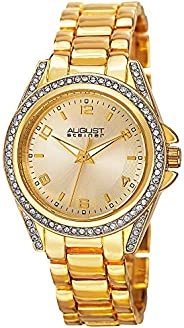 August Steiner Women's Crystal Bezel and Lugs Dress Watch - Sunburst Dial on Yellow Gold Tone Stainless St