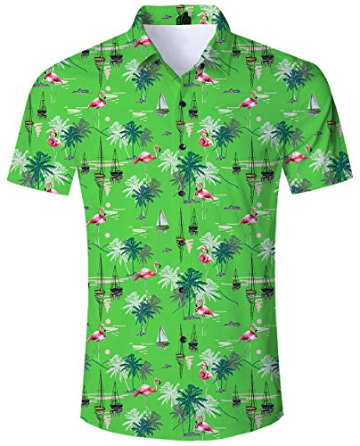 Männer Herren Anzüge (ALISISTER Flamingo Hawaiihemd Tropical 3D Lustige Muster Urlaub Shirts Herren Grün Hemden Button Down Tshirts Funky Hemd Kurzarm Party Anzug für Männer XL)