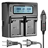 Neewer Double LCD Chargeur de Batterie pour Sony NP-FW50 Batteries Compatible avec Sony NEX-3 NEX-5 NEX-6 NEX-7 NEX-C3 NEX-F3 SLT-A33 SLT-A37 SLT-A55 (US Prise + EU Prise + Voiture Adapter Chargeur)