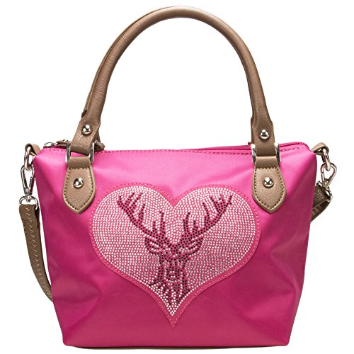 Alpenflüstern Trachten-Handtasche Strass-Hirsch DTA05500025 Damen Umhängetaschen 28x20x13 cm, Pink