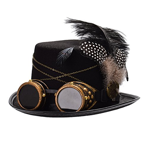 GRACEART Men's Gothic Steampunk Top Hat with Goggles steampunk buy now online