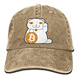 Men's Or Women's Bitcoin Cat Cotton Denim Baseball Hat Adjustable Trucker Cap