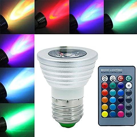 Jinda E27 RGB Lampe de Scène, 60° Angle de faisceau Spot à LED, 270LM 3W Lumière de Stade avec Télécommande pour Atmosphère