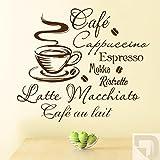 DESIGNSCAPE® Wandtattoo Kaffee, Café, Cappuccino, Espresso, Mokka, Ristretto, Lattee Macchiato, Café au lait 60 x 52 cm (Breite x Höhe) beige DW803033-S-F11