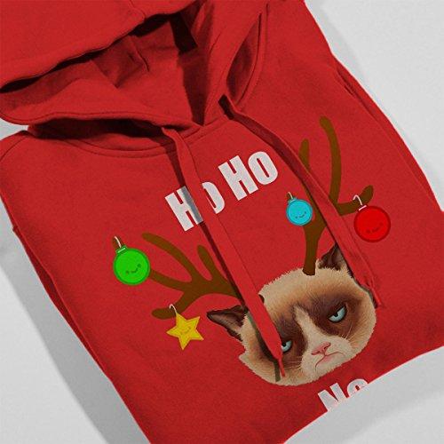 Ho Ho No Christmas Cat White Women's Hooded Sweatshirt red