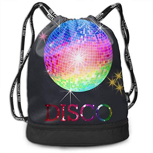 Neon Disco Ball Drawstring Backpack Orts Gym Cinch Sack Bag for Gym Hiking Travel Beach Sackpack nce Bag