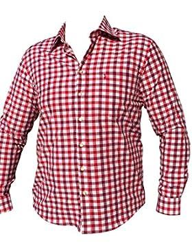 Trachtenhemd Herren Hemd Freizeithemden Business Hochzeit Rot-Weiß Karo Baumwolle Langarm Trachtenmode