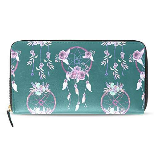 Emoya - Cartera Larga para Mujer, diseño Floral, atrapasueños, Monedero para Tarjetas de crédito