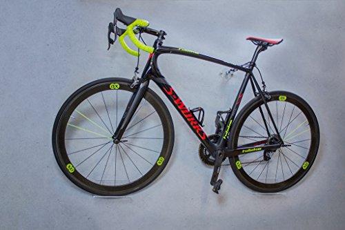trelixx Soporte de Pared para Bicicleta acrílico Transparente (Acabado Láser) para Bicicleta de Montaña/de Carreras, Soporte de Diseño para Bicicleta con Montaje en la Pared