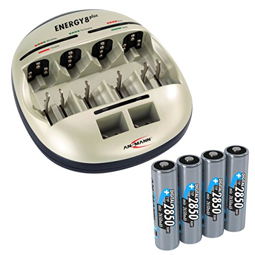 ANSMANN Energy 8 Plus Akku Ladegerät - Ladestation für AAA, AA, C, D & 9V E-Block - Batterieladegerät als Pflegestation & Kapazitätstester mit Refresh Funktion - inkl. 4x Mignon AA NiMH Akkus