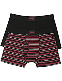 Jeep Mens Red Stripe Black Cotton Stretch Jersey Fitted Keyhole Fly Trunks Two Pack