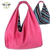 ORIGAMI-TASCHE Damen Shopper Einkaufstasche Schultertasche - pink bunt gestreift