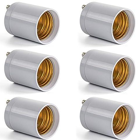 AWE-LIGHT GU24 to E27 LED Bulb Base Adapter Converters Light Sockets Lamp Holder, 6-Pack