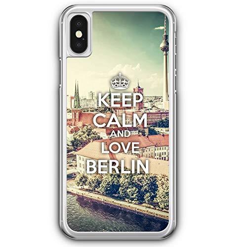Berlin Design (Keep Calm and Love Berlin - Hülle für iPhone XS - Motiv Design Spruch Schön - Cover Hardcase Handyhülle Schutzhülle Case Schale)