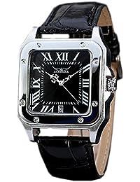 Gute Quadratischer Herren Automatische mechanische Armbanduhr mit schwarzem Zifferblatt Analog-Anzeige und schwarz Lederband