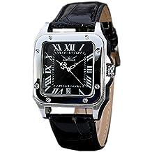 GuTe forma cuadrada hombres automática reloj de pulsera mecánico con Negro esfera analógica pantalla y correa de cuero negro