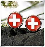 JUN Flagge Schweiz Ohrstecker Ohrring Swiss National Flagge Ohrring Dome Glas Schmuck, Pure Handgefertigt