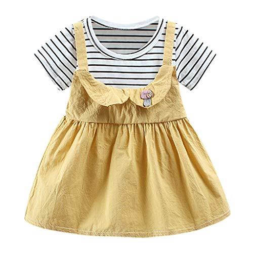 squarex Infant Kid Baby Mädchen Kinder Kurzarm Kleid Cartoon Streifen Rock Prinzessin Kleid Kleidung Sommer Freizeitkleidung