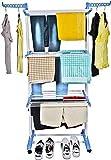 Ginoya Brothers Clothes Garment Rack Adjustable Clohthing Rack Hanger Portable Multi-Tier Closet Organizer Bar HolderClothing Garment Rack Laundry Drying Rack Shoe Rack