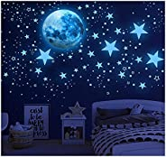 Buring Glow in The Dark Stars Sticker Decals for Ceiling,Stars and Moon Wall Decals, 1003 Pcs Ceiling Stars Ki
