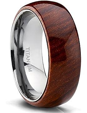 Ultimate Metals Co.® 6MM Herren Titan Dome Ehering mit Holzeinlage, Bequemlichkeit Passen